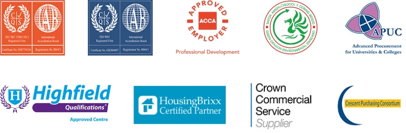 TIAA's awarded accreditation logos for ISO, HousingBrixx, Highfield Qualifications, Green Dragon Environmental Standard, ACCA Approved Employer, Crown Commercial Service Supplier, APUC Certified and Crescent Purchasing Consortium